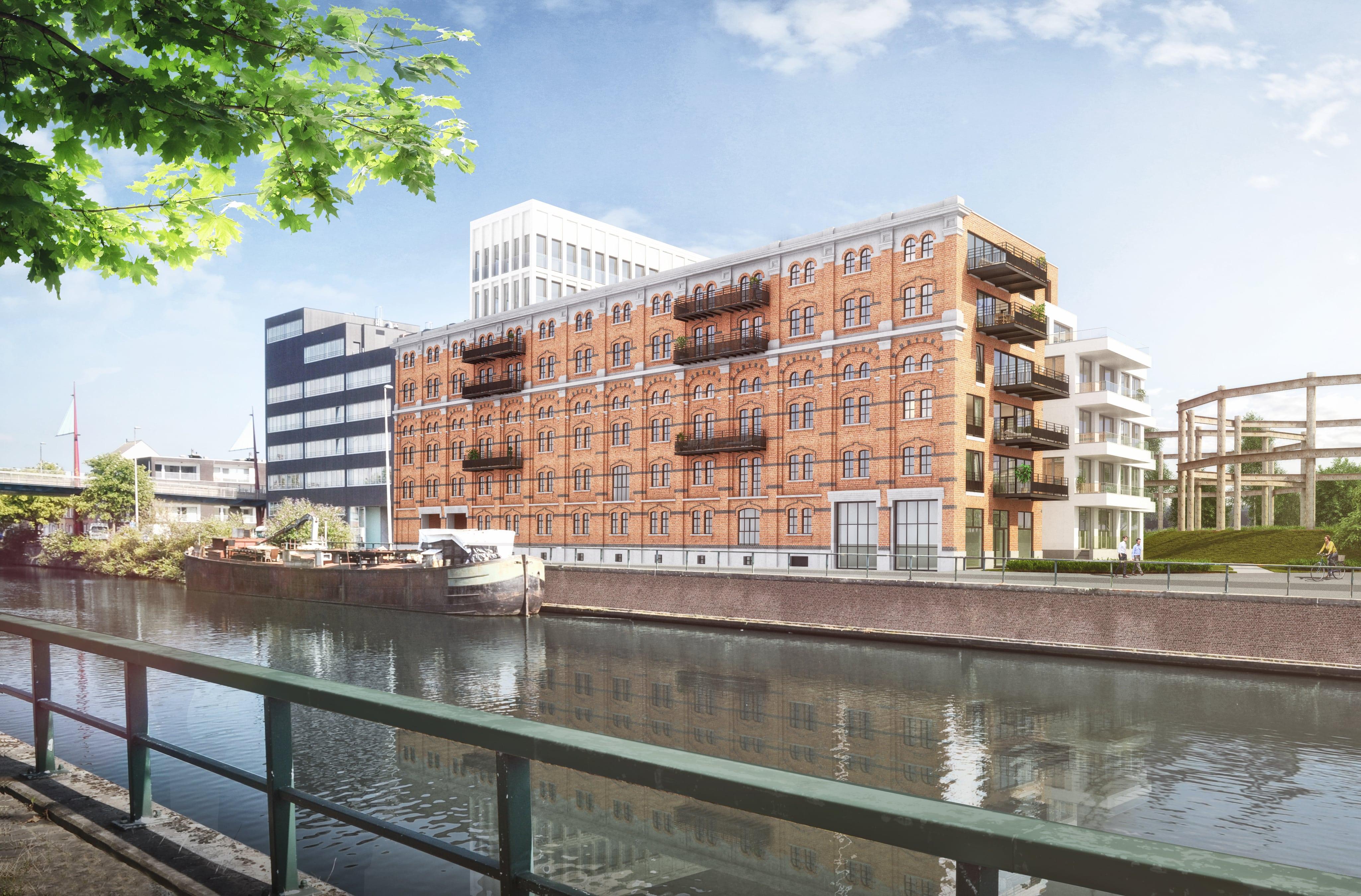 Simulatie gebouw Nieuwe Molens Gent in het Tondelier-park in Gent, een nieuw en groen stadsdeel in wording waarvoor Het Schrijfhok een intensieve contentmarketingstrategie creëerde en uitrolt sinds 2017