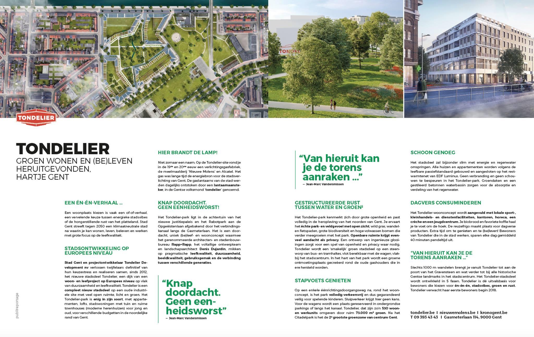 Publireportage van Het Schrijfhok in de Morgen Magazine voor Tondelier in Gent