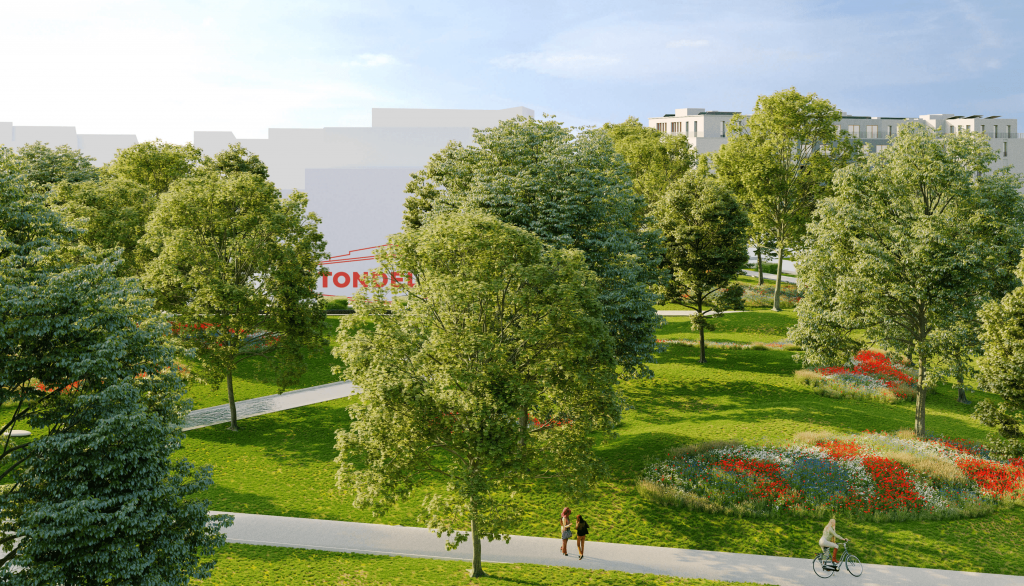 Simulatie Tondelier-park in Gent, een nieuw en groen stadsdeel in wording waarvoor Het Schrijfhok een intensieve contentmarketingstrategie opzette en uitrolt sinds 2017