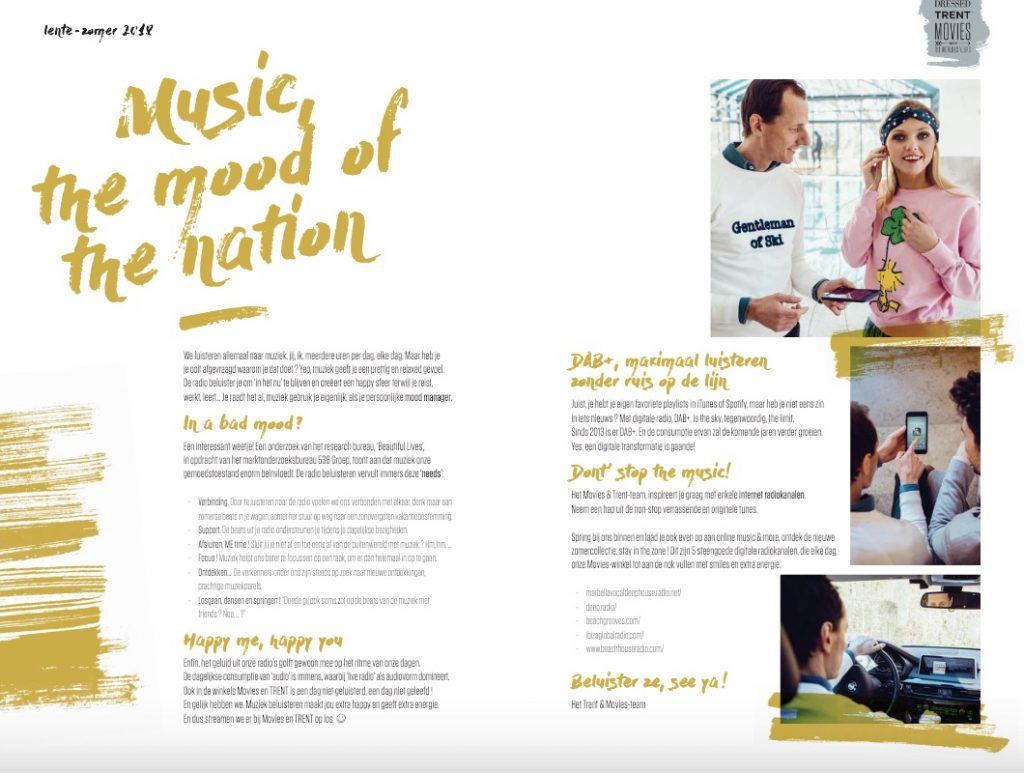 Pagina tekst uit magazine TRENT en Movies: Artikel Music the mood of the nation